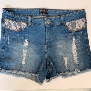 High Rise Distressed Lace Stretchy Jean Shorts